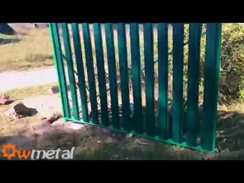 Видео-пример монтажа ворот из металлического штакетника