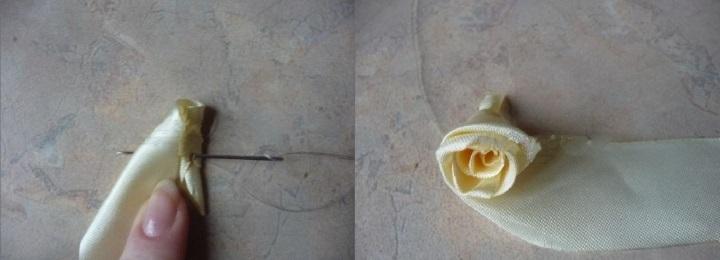 изготовление роз из лент