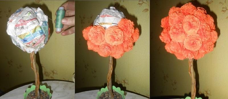 наклеить цветы на шар