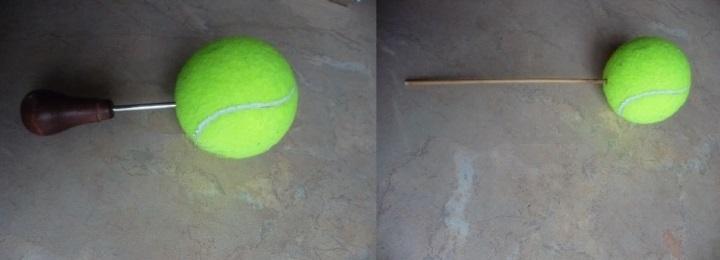 подготовка теннисного мячика