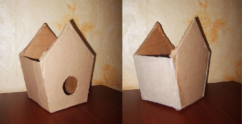 готовая коробка скворечника из картона